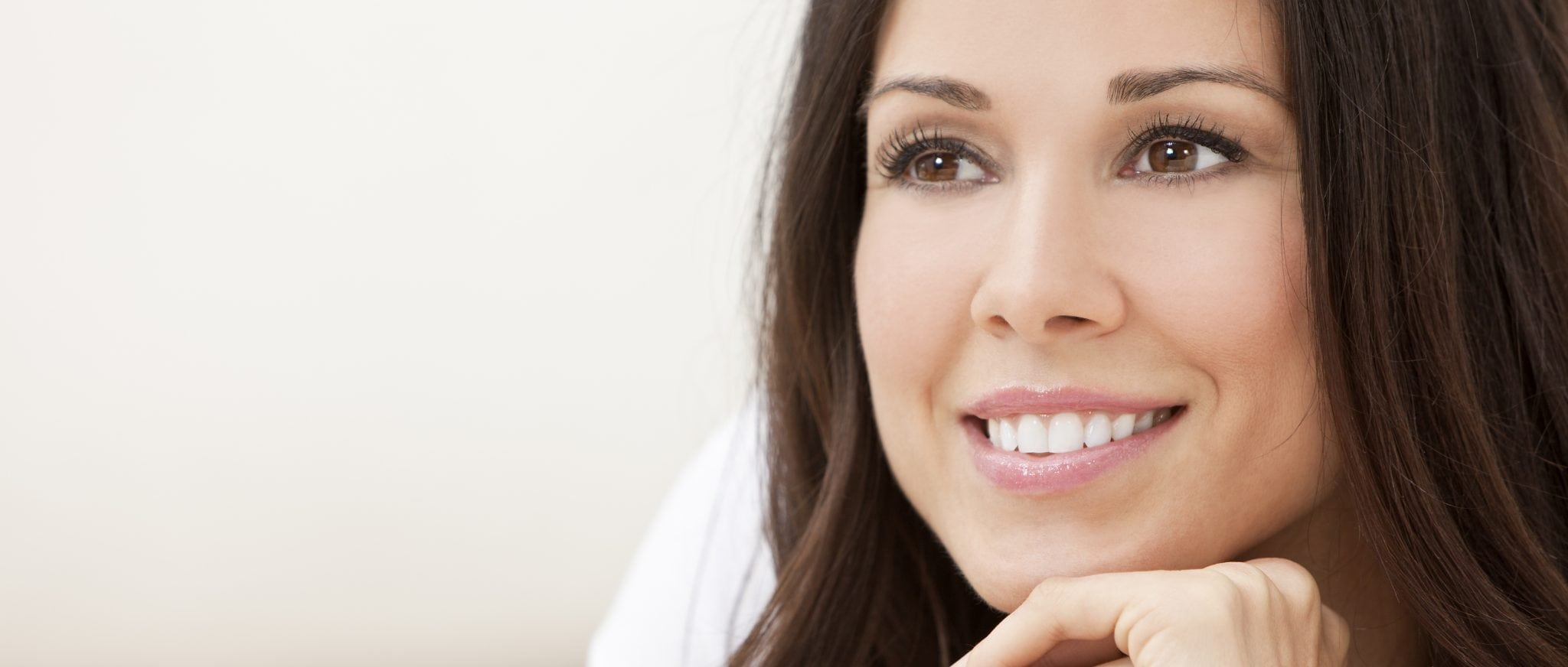 Women smiling women with perfect smile and white teeth
