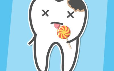 Cartoon image of cavity in a tooth that is eating a lollypop