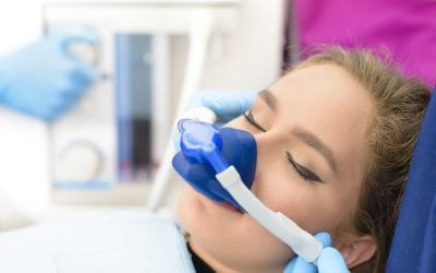 Woman having inhalation sedation