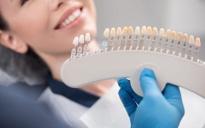 Orthodontist arms showing teeth implants to patient.